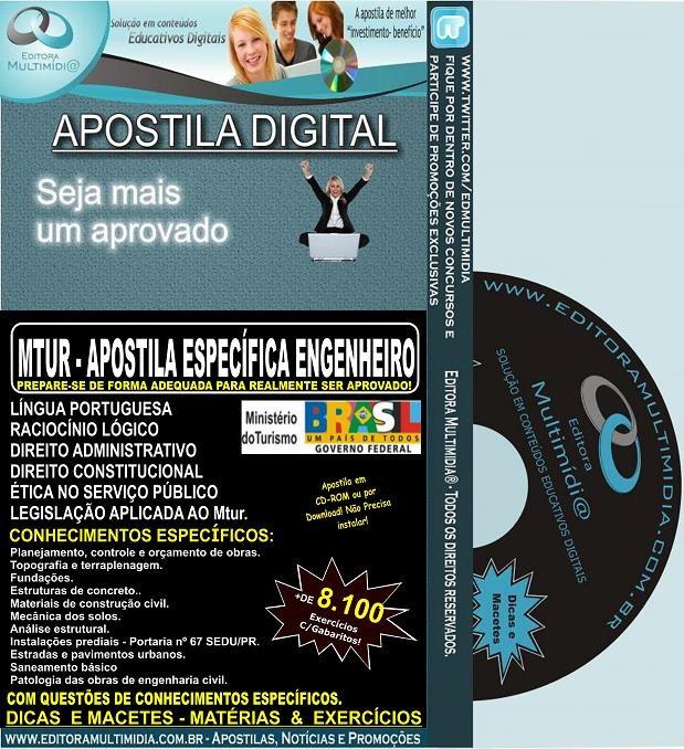 Apostila MTUR - Específica ENGENHEIRO - Teoria + 8.100 Exercícios - Concurso 2013-14