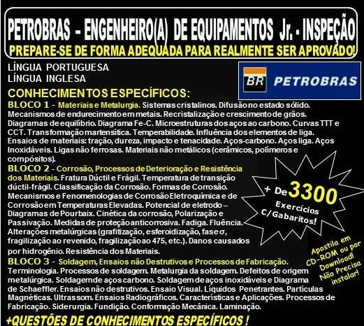 APOSTILA PETROBRAS - ENGENHEIRO(A) de EQUIPAMENTOS Jr. - INSPEÇÃO - Teoria + 3.300 Exercícios - Concurso 2018