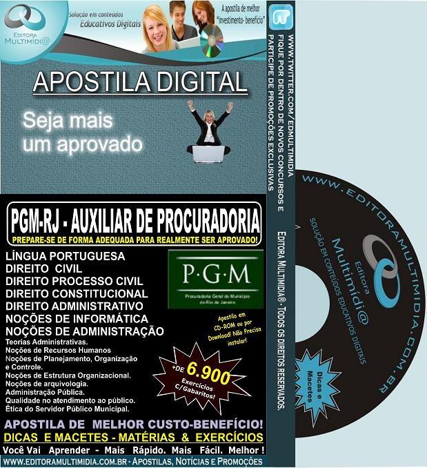Apostila PGM RJ - Auxiliar de Procuradoria - Teoria + 6.900 Exercícios - Concurso 2013
