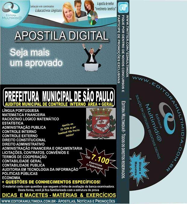 Apostila PREFEITURA SP - Auditor Municipal de Controle Interno - GERAL- Teoria + 7.100 Exercícios - Concurso 2015