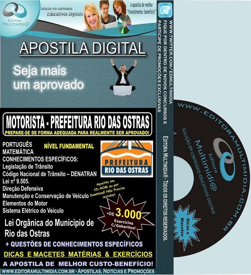 Apostila Digital Prefeitura Rio das Ostras - MOTORISTA - Teoria + 3.000 Exercícios - Concurso 2012