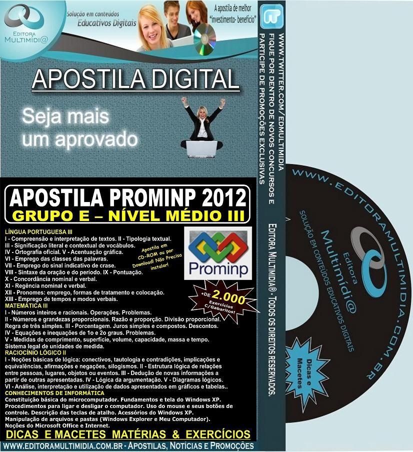 Apostila PROMINP - Grupo E - Nível Médio III (3) - Teoria + 2.000 Exercícios - Concurso 2012