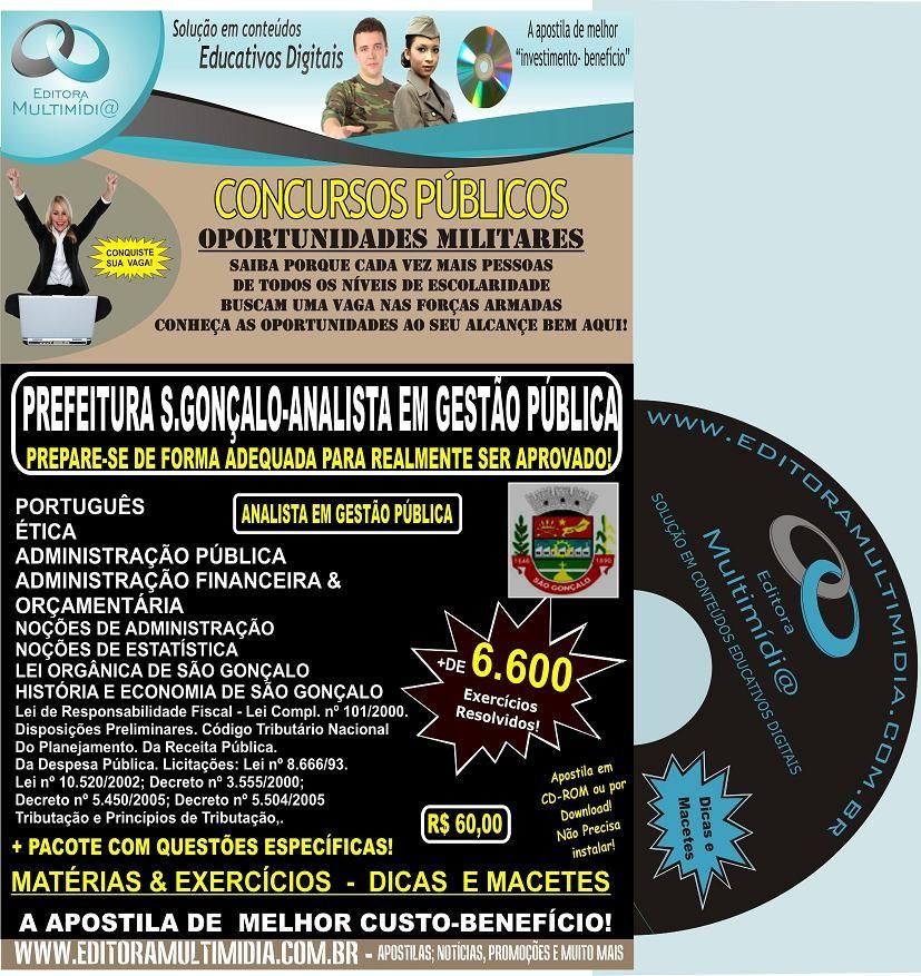 APOSTILA  PREFEITURA SÃO GONÇALO CD - ANALISTA EM GESTÃO PÚBLICA - CONCURSO 2011