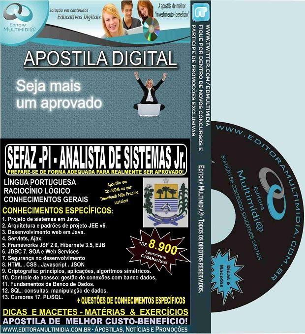 Apostila SEFAZ PI - ANALISTA de SISTEMAS Jr. - Teoria + 8.900 Exercícios - Concurso 2015