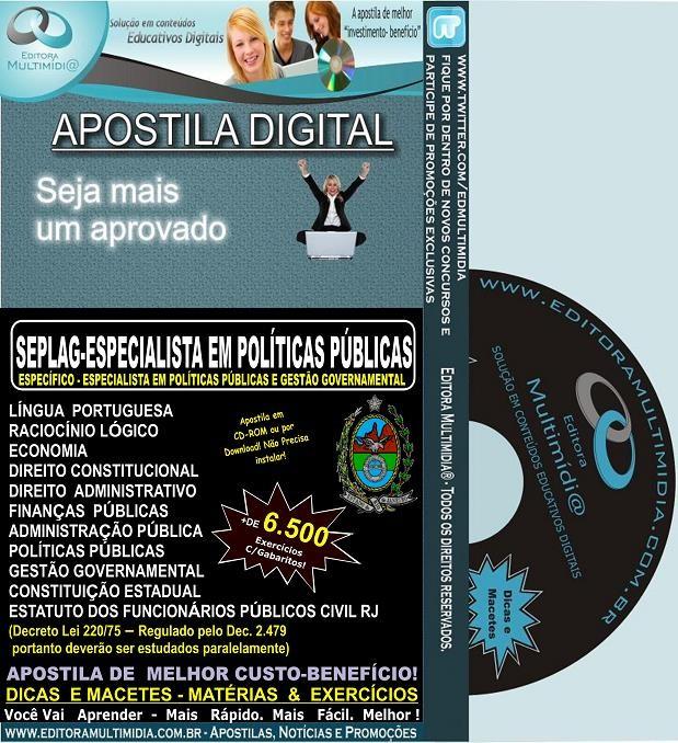 Apostila SEPLAG RJ - Especialista em Políticas Públicas e Gestão Governamental - EPPGG -  Teoria + 6.500 Exercícios