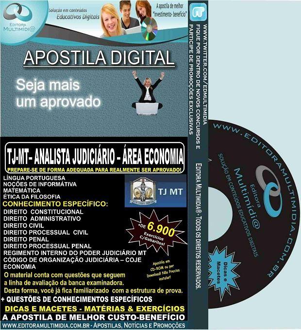 Apostila TJ MT - Analista Judiciário - Área ECONOMIA - Teoria + 6.900 Exercícios - Concurso 2015
