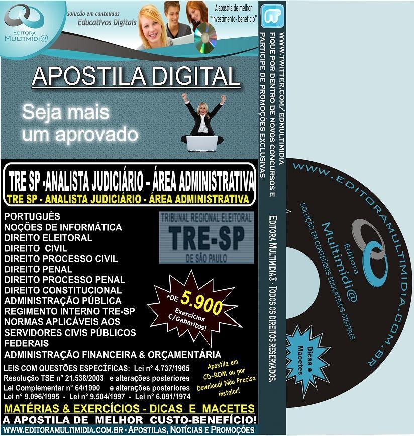 Apostila TRE SP 2012 - Analista Judiciário - Área Administrativa - Teoria + 5.900 Exercícios - IGX