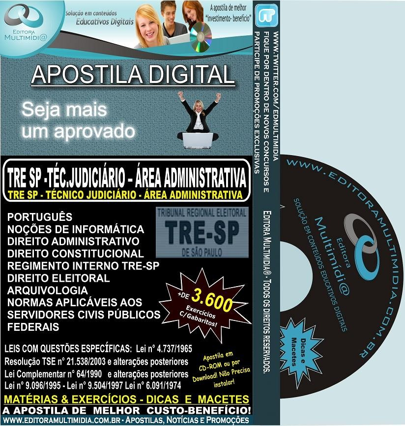 Apostila TRE SP 2012 - Técnico Judiciário - Área Administrativa - Teoria + 3.600 Exercícios - IGX