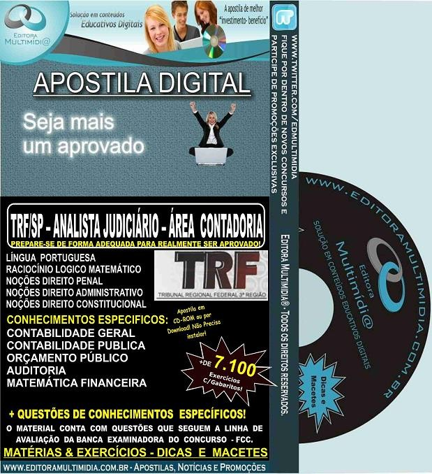 Apostila TRF SP - ANALISTA Judiciário - Área CONTADORIA - Teoria + 7.100 Exercícios - Concurso 2016