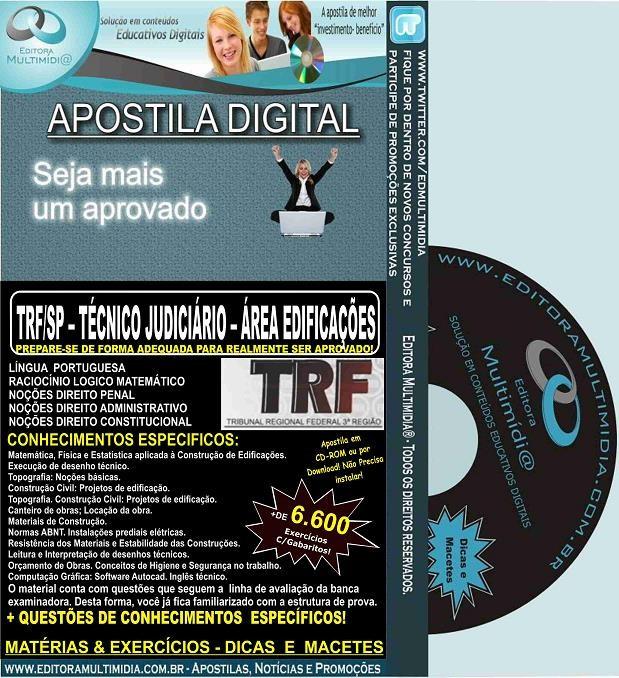 Apostila TRF SP - TÉCNICO Judiciário - Área EDIFICAÇÕES - Teoria + 6.600 Exercícios - Concurso 2016