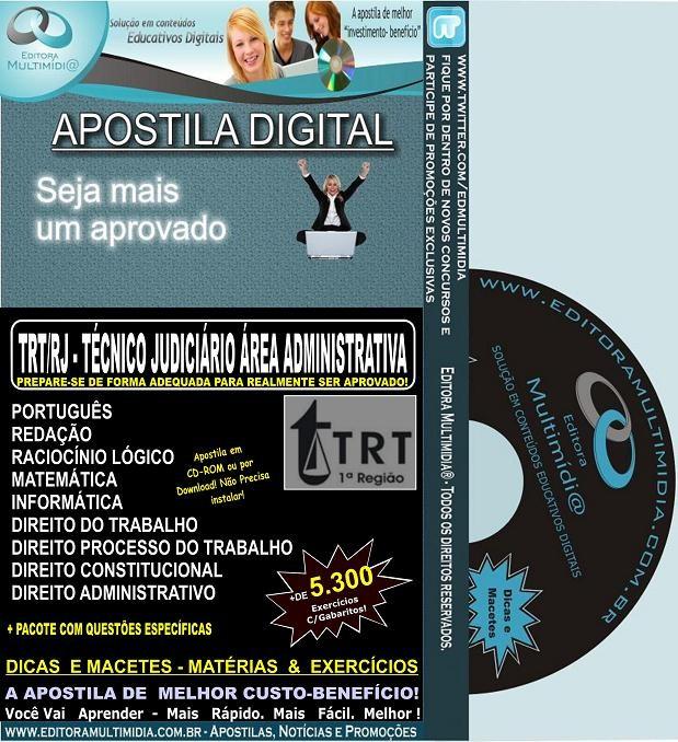 Apostila  TRT RJ - Técnico Judiciário - ÁREA ADMINISTRATIVA - Teoria + 5.300 Exercícios - Concurso 2012