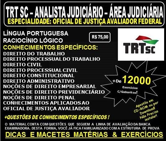 Apostila TRT SC - 12ª Região - ANALISTA Judiciário - Área OFICIAL de JUSTIÇA AVALIADOR FEDERAL - Teoria + 12.000 Exercícios - Concurso 2017