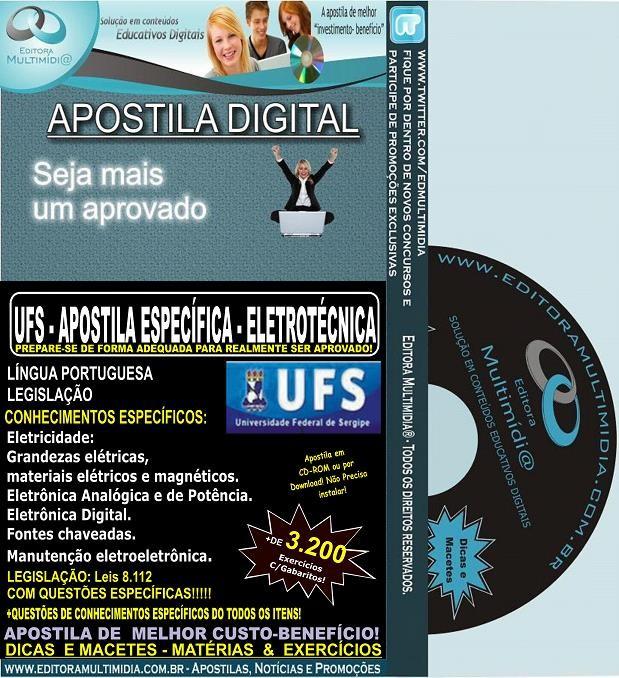 Apostila UFS - TÉCNICO em ELETROTÉCNICA - Teoria + 3.200 Exercícios - Concurso 2014