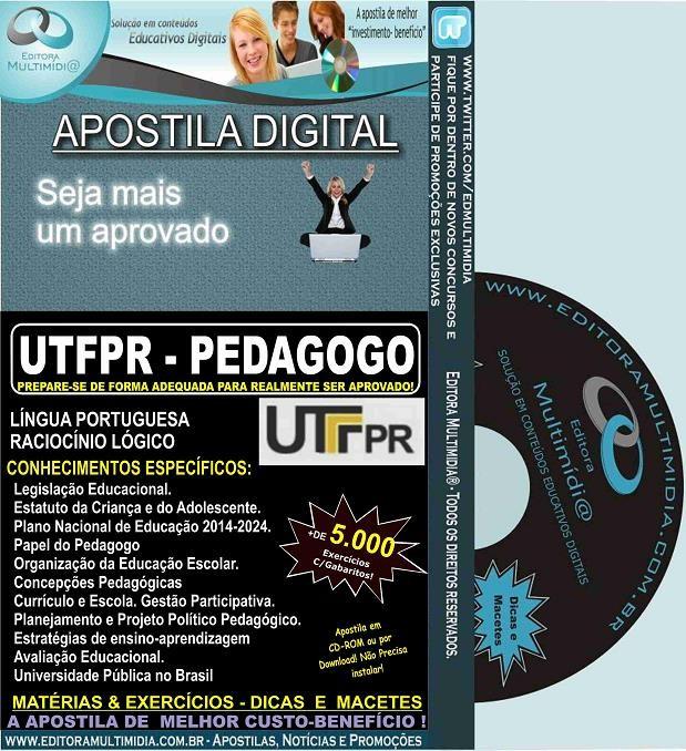 Apostila UTFPR - PEDAGOGO - Teoria + 5.000 Exercícios - Concurso 2016