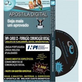 Apostila  INPI - CARGO 22 - ANALISTA - Formação: COMUNICAÇÃO SOCIAL - Teoria + 2.500 Exercícios - Concurso 2013