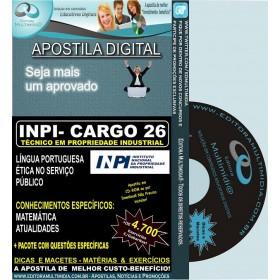 Apostila  INPI - CARGO 26 - TÉCNICO em Propriedade Industrial - Teoria + 4.700 Exercícios - Concurso 2013