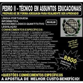 Apostila PEDRO II - TÉCNICO em ASSUNTOS EDUCACIONAIS - Teoria + 8.800 Exercícios - Concurso 2017