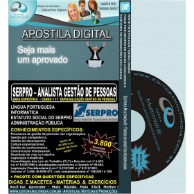 Apostila SERPRO - ANALISTA GESTÃO DE PESSOAS - Cargo 11: ESPECIALIZAÇÃO GESTÃO DE PESSOAS - Teoria + 4.500 Exercícios - Concurso 2013