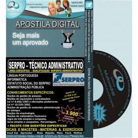 Apostila SERPRO - TÉCNICO ADMINISTRATIVO - Área Específica - QUALIFICAÇÃO SUPORTE ADMINISTRATIVO - Teoria + 4.500 Exercícios - Concurso 2013