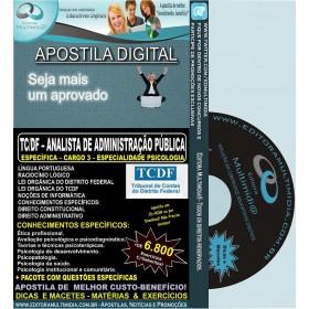 Apostila TC DF - Analista de Administração Pública - Cargo 3 - ESPECIALIDADE PSICOLOGIA - Teoria + 6.800 Exercícios - Concurso 2014