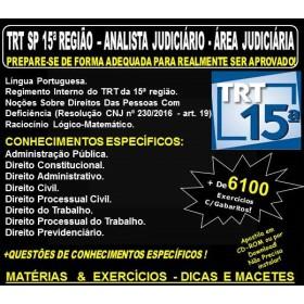 Apostila TRT SP 15ª Região - ANALISTA JUDICIÁRIO - Área JUDICIÁRIA - Teoria + 6.100 Exercícios - Concurso 2018