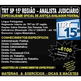 Apostila TRT SP 15ª Região - ANALISTA JUDICIÁRIO - Área OFICIAL de JUSTIÇA AVALIADOR FEDERAL - Teoria + 6.100 Exercícios - Concurso 2018