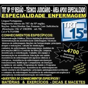 Apostila TRT SP 15ª Região - TÉCNICO  JUDICIÁRIO - Área Apoio Esecializado - ESPECIALIDADE ENFERMAGEM - Teoria + 4.700 Exercícios - Concurso 2018