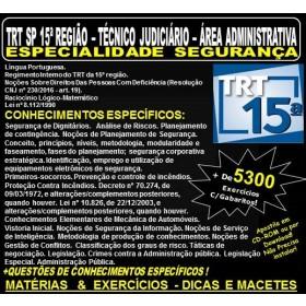 Apostila TRT SP 15ª Região - TÉCNICO  JUDICIÁRIO - Área ADMINISTRATIVA - ESPECIALIDADE  SEGURANÇA - Teoria + 5.300 Exercícios - Concurso 2018