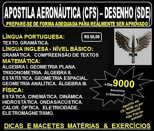 Apostila AERONÁUTICA - CURSO de FORMAÇÃO de SARGENTOS - DESENHO (SDE) - Teoria + 9.000 Exercícios - Concurso 2017
