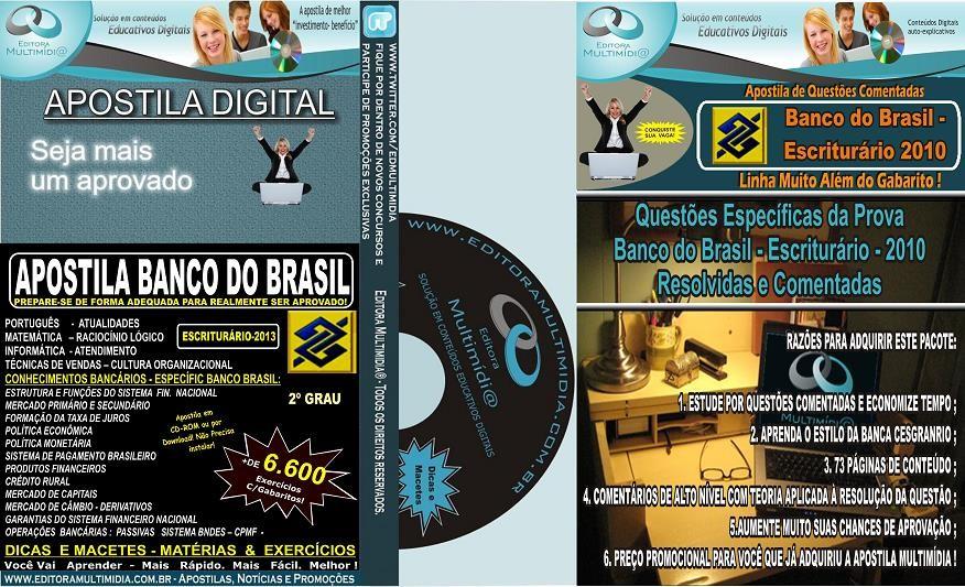 PROMOÇÃO! Apostila Banco do Brasil - ESCRITURÁRIO - 2013 + Questões COMENTADAS (Prova 2010)