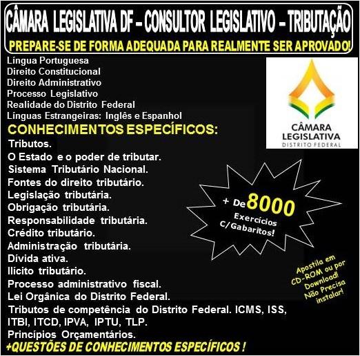 Apostila CAMARA LEGISLATIVA DF - CONSULTOR LEGISLATIVO - TRIBUTAÇÃO - Teoria + 8.000 Exercícios - Concurso 2018