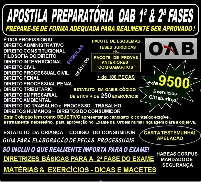APOSTILA  Exame da OAB 1ª e 2ª fasesTeoria + 9.500 Exercícios - Concurso 2016