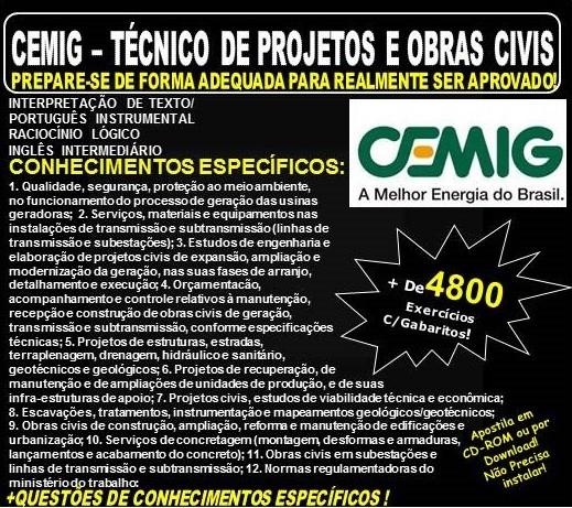 14e3e4399ddd4 Apostila CEMIG - TÉCNICO de PROJETOS e OBRAS CIVIS - Teoria + 4.800  Exercícios - Concurso 2018