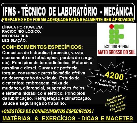 Apostila IFMS - TÉCNICO de LABORATÓRIO - MECÂNICA - Teoria + 4.200 Exercícios - Concurso 2018