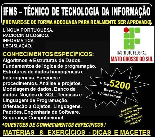 Apostila IFMS - TÉCNICO TECNOLOGIA da INFORMAÇÃO - Teoria + 5.200 Exercícios - Concurso 2018