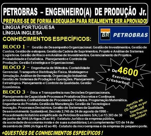 Apostila PETROBRAS - ENGENHEIRO(A) DE PRODUÇÃO Jr. - Teoria + 4.600 Exercícios - Concurso 20118