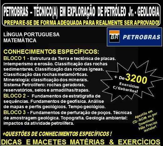 APOSTILA PETROBRAS - Técnico de Exploração de Petróleo Jr. -  GEOLOGIA - Teoria + 3.200 Exercícios - Concurso 2018