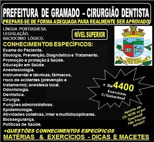 Apostila PREFEITURA de GRAMADO - CIRURGIÃO DENTISTA - Teoria + 4.400 Exercícios - Concurso 2018