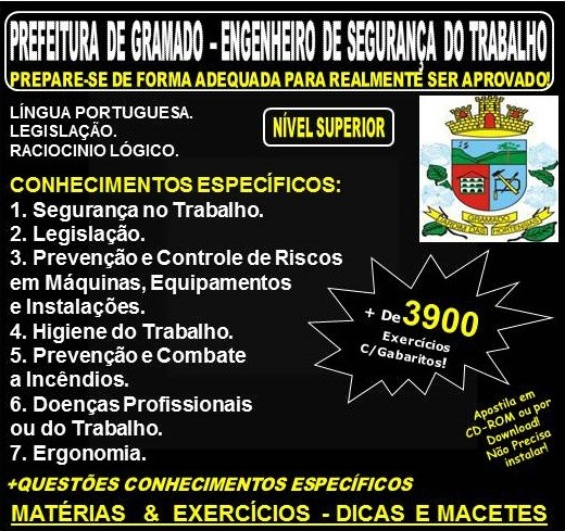 7a558af2f2bdf Apostila PREFEITURA de GRAMADO - ENGENHEIRO de SEGURANÇA do TRABALHO -  Teoria + 3.300 Exercícios - Concurso 2018