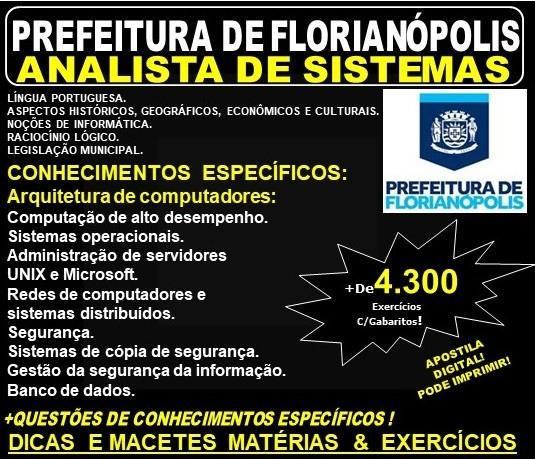 Apostila Prefeitura de Florianópolis SC - ANALISTA de SISTEMAS - Teoria + 4.300 Exercícios - Concurso 2019