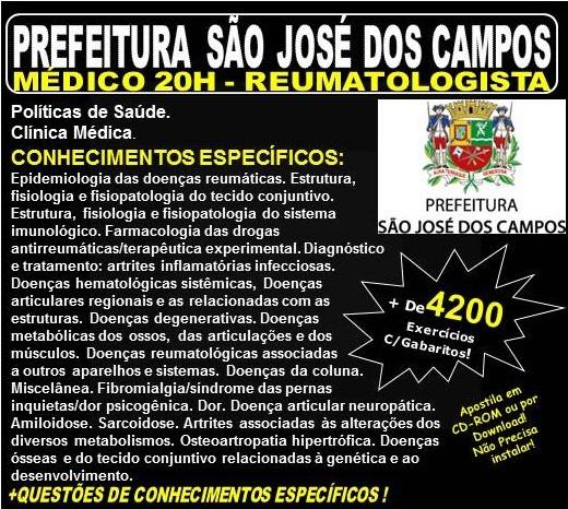 Apostila Prefeitura de São José dos Campos - Médico - REUMATOLOGISTA - Teoria + 4.200 Exercícios - Concurso 2018