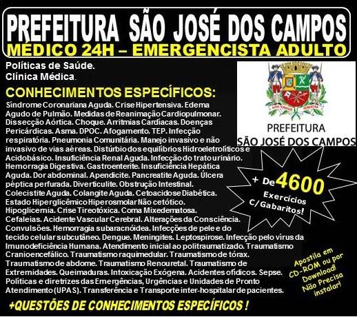 Apostila Prefeitura de São José dos Campos - Médico - EMERGENCISTA ADULTO - Teoria + 4.600 Exercícios - Concurso 2018