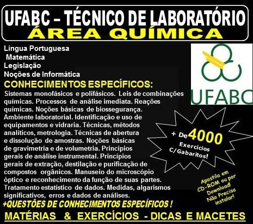 Apostila UFABC - TÉCNICO de LABORATÓRIO - Área QUÍMICA - Teoria + 4.000 Exercícios - Concurso 2018