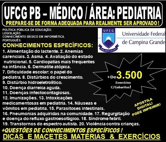 Apostila UFCG PB - MÉDICO / Área: PEDIATRIA - Teoria + 3.500 Exercícios - Concurso 2019