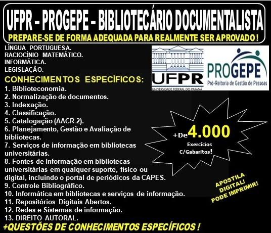 Apostila UFPR - PROGEPE - BIBLIOTECÁRIO DOCUMENTALISTA - Teoria + 4.000 Exercícios - Concurso 2019