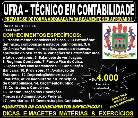 Apostila UFRA - TÉCNICO em CONTABILIDADE - Teoria + 4.000 Exercícios - Concurso 2019
