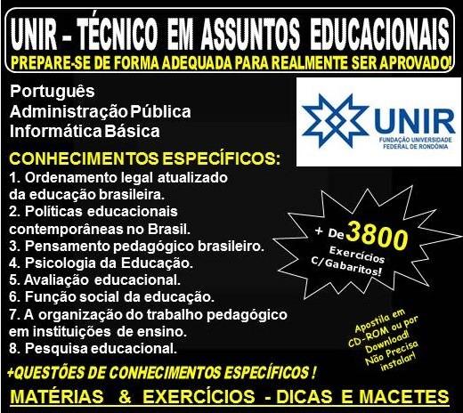 Apostila UNIR - TÉCNICO em ASSUNTOS EDUCACIONAIS - Teoria + 3.800 Exercícios - Concurso 2018