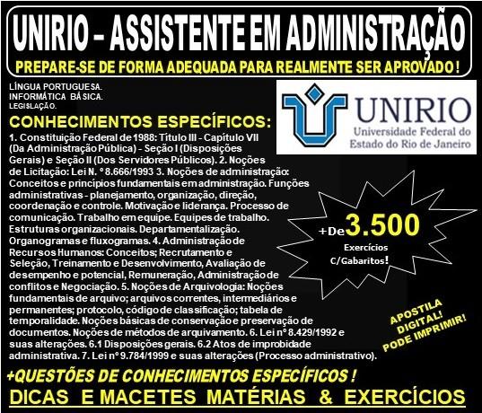 Apostila UNIRIO - ASSISTENTE em ADMINISTRAÇÃO - Teoria + 3.500 Exercícios - Concurso 2019
