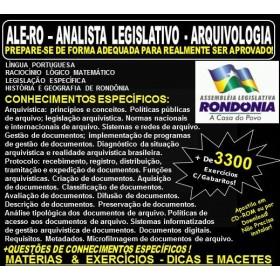 Apostila ALE-RO - ANALISTA LEGISLATIVO - ARQUIVOLOGIA - Teoria + 3.300 Exercícios - Concurso 2018