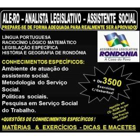 Apostila ALE-RO - ANALISTA LEGISLATIVO - ASSISTENTE SOCIAL - Teoria + 3.500 Exercícios - Concurso 2018